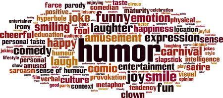 Humor word cloud concept. Collage made of words about humor. Vector illustration Illusztráció
