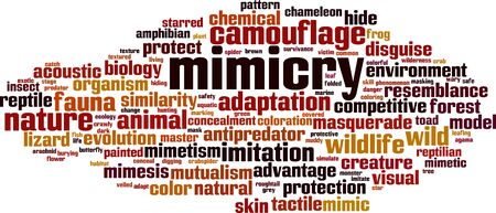Mimicry word cloud concept. Collage made of words about mimicry. Vector illustration Çizim