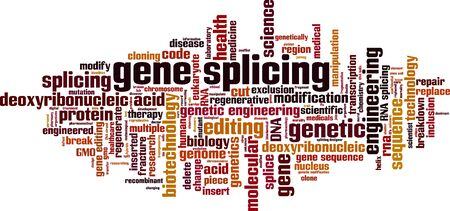 Gene splicing word cloud concept. Collage made of words about gene splicing. Vector illustration