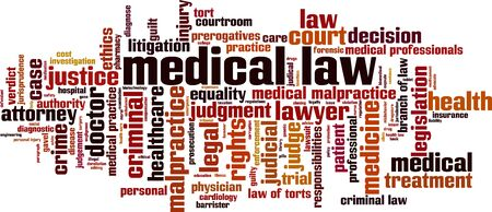 Medical law word cloud concept. Collage made of words about medical law. Vector illustration