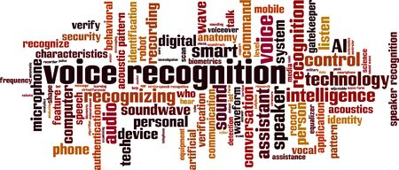 Voice recognition word cloud concept. Collage made of words about voice recognition. Vector illustration Vectores