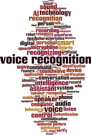 Voice recognition word cloud concept. Collage made of words about voice recognition. Vector illustration Illusztráció