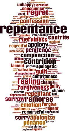 Pentimento parola concetto cloud. Collage fatto di parole sul pentimento. Illustrazione vettoriale