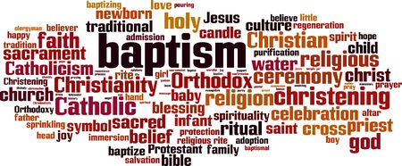 Baptism word cloud concept. Collage made of words about baptism. Vector illustration