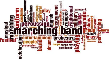 Marching band word cloud concept. Collage made of words about marching band. Vector illustration  Stock Illustratie