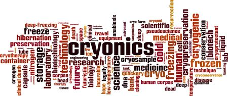 Cryonics word cloud concept. Collage made of words about cryonics. Vector illustration Stock Illustratie