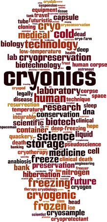 Cryonics word cloud concept. Collage made of words about cryonics. Vector illustration Vektorgrafik