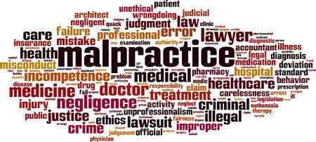 Malpractice word cloud concept. Collage made of words about malpractice. Vector illustration Illustration