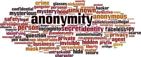 Anonymity word cloud concept. Collage made of words about anonymity. Vector illustration  Illusztráció