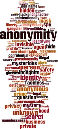 Anonymity word cloud concept. Collage made of words about anonymity. Vector illustration  Çizim