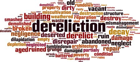 Dereliction word cloud concept. Collage made of words about dereliction. Vector illustration