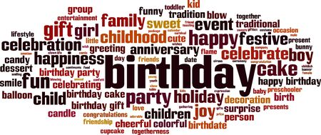 Birthday word cloud concept. Collage made of words about birthday. Vector illustration