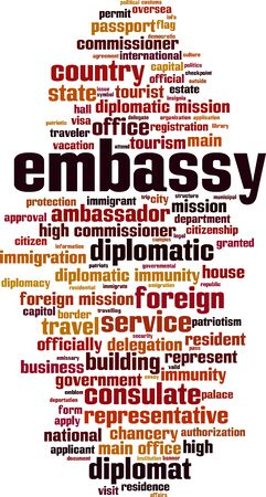 Embassy word cloud concept. Collage made of words about embassy. Vector illustration