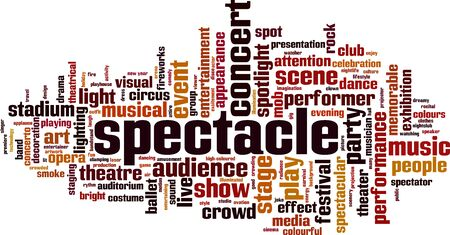 Spectacle word cloud concept. Collage made of words about spectacle. Vector illustration