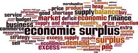 Economic surplus word cloud concept. Collage made of words about economic surplus. Vector illustration