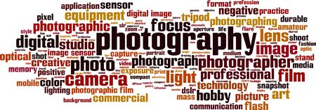 Photography word cloud concept. Collage made of words about photography. Vector illustration  Illusztráció