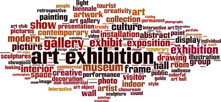 Art exhibition word cloud concept. Collage made of words about applied art exhibition. Vector illustration