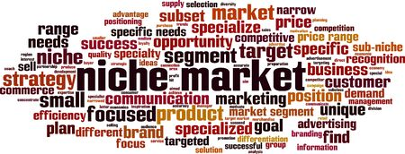 Niche market word cloud concept. Collage made of words about niche market. Vector illustration Vectores