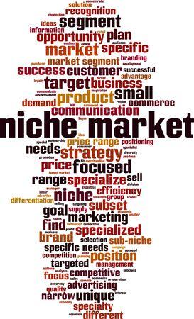 Niche market word cloud concept. Collage made of words about niche market. Vector illustration Illusztráció