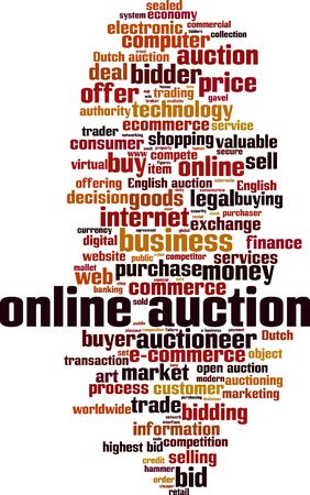 Online auction word cloud concept. Collage made of words about online auction. Vector illustration