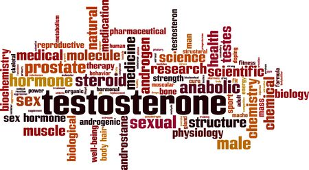 Testosterone word cloud concept. Collage made of words about testosterone. Vector illustration