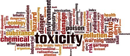 Toxicity word cloud concept. Collage made of words about toxicity. Vector illustration