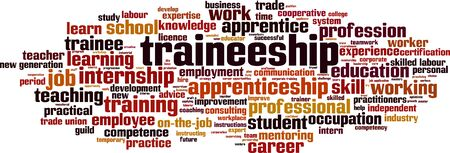 Traineeship word cloud concept. Collage made of words about traineeship. Vector illustration