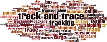 Wortwolkenkonzept verfolgen und verfolgen. Collage aus Wörtern über Track & Trace. Vektor-Illustration Vektorgrafik