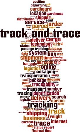 Track and trace word cloud concept. Collage made of words about track and trace. Vector illustration