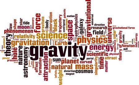 Notion de nuage de mot gravité. Collage fait de mots sur la gravité. Illustration vectorielle
