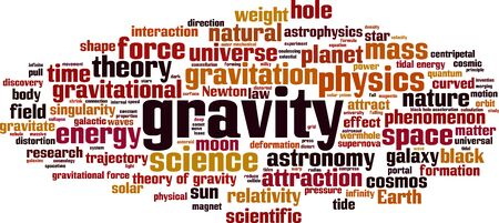 Gravity word cloud concept. Collage made of words about gravity. Vector illustration