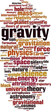 Concepto de nube de word de gravedad. Collage de palabras sobre la gravedad. Ilustración vectorial Ilustración de vector