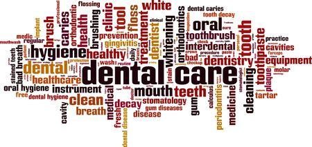 Dental care word cloud concept. Collage made of words about dental care. Vector illustration Illusztráció