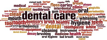 Dental care word cloud concept. Collage made of words about dental care. Vector illustration  イラスト・ベクター素材