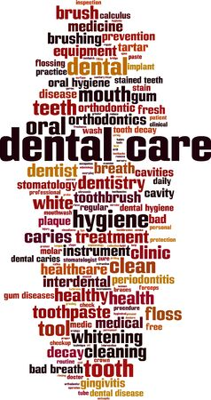 Dental care word cloud concept. Collage made of words about dental care. Vector illustration