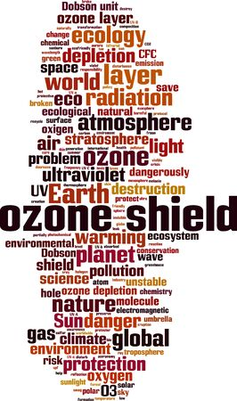 Ozone shield word cloud concept. Collage made of words about ozone shield. Vector illustration