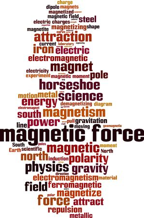 Magnetic force word cloud concept. Collage made of words about magnetic force. Vector illustration