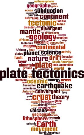 Plate tectonics word cloud concept. Collage made of words about plate tectonics. Vector illustration