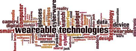 Wearable technologies word cloud concept. Collage made of words about wearable technologies. Vector illustration Illusztráció