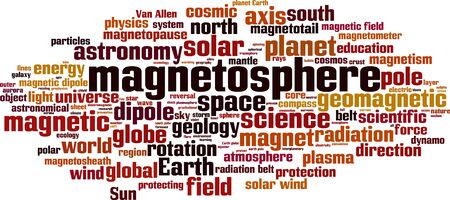 Magnetosphere word cloud concept. Collage made of words about magnetosphere. Vector illustration Illusztráció