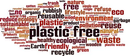 Plastic free word cloud concept. Collage made of words about plastic free. Vector illustration