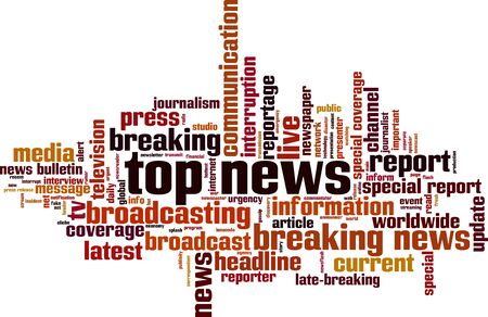 Top news word cloud concept. Collage made of words about top news. Vector illustration