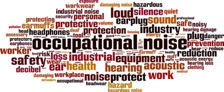 Occupational noise word cloud concept. Collage made of words about occupational noise. Vector illustration Foto de archivo - 135569911