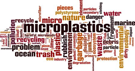 Microplastics word cloud concept. Collage made of words about microplastics. Vector illustration