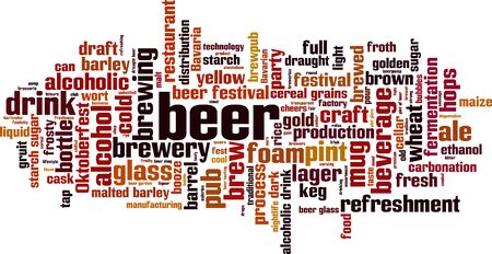 Beer word cloud concept. Collage made of words about beer. Vector illustration