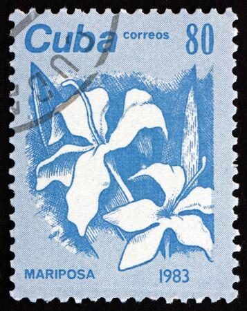 CUBA - CIRCA 1983: a stamp printed in Cuba shows mariposa, hedychium coronarium, is the national flower of Cuba, circa 1983 Editorial