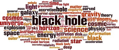 Black hole word cloud concept. Collage made of words about black hole. Vector illustration