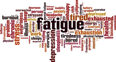Fatigue word cloud concept. Collage made of words about fatigue. Vector illustration Stock Vector - 134873445