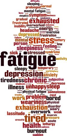 Fatigue word cloud concept. Collage made of words about fatigue. Vector illustration