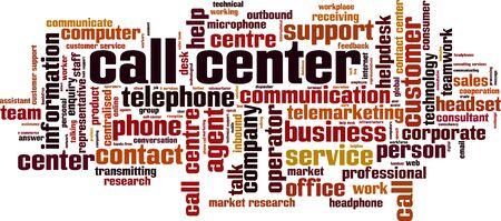 Concept de nuage de mot de centre d'appels. Collage de mots sur le centre d'appels. Illustration vectorielle Vecteurs